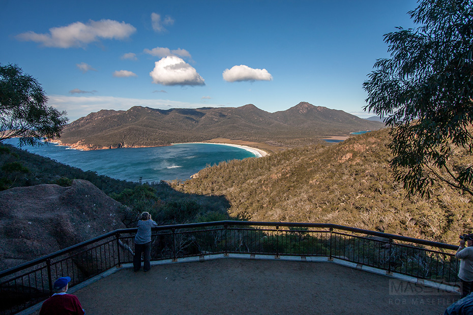 Watching the wind twisters work their way across Wineglass Bay.