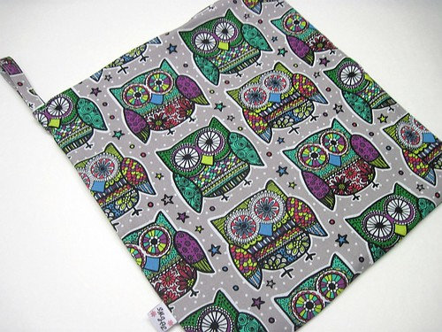 Purple and Green Owls Wet Bag