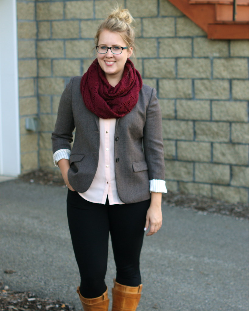 maroon infinity scarf, tweed blazer, riding boots