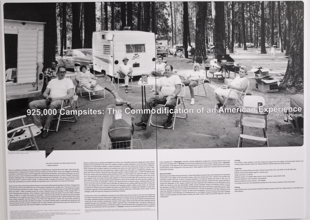 Display panels illustrate the evolution of the camping experience.