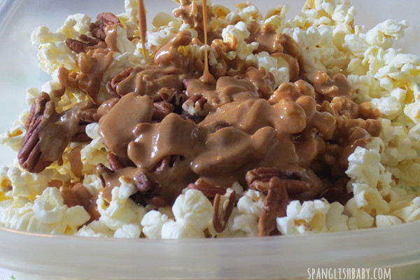 caramel apple popcorn- melted caramel