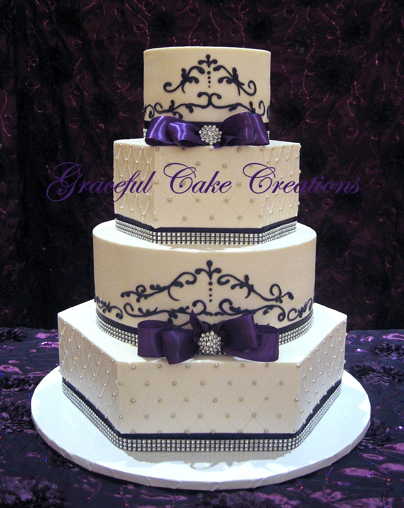 Elegant White and Purple Wedding Cake