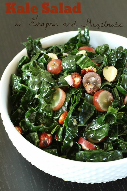 Kale Salad with Grapes and Hazelnuts (title pic)