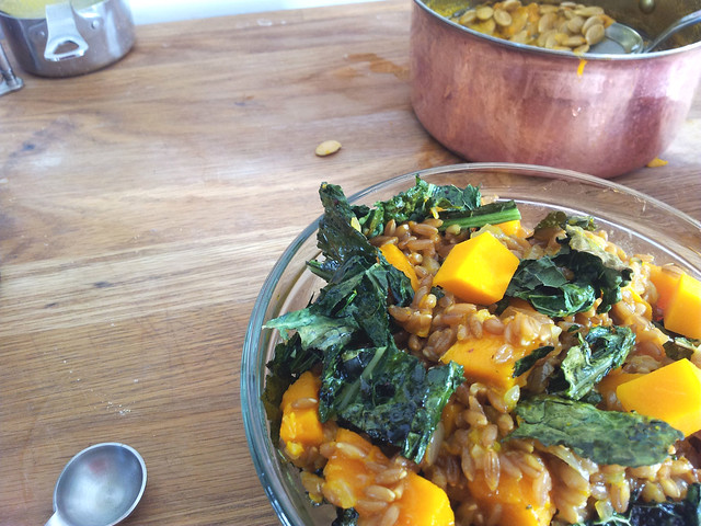 kabocha farratto and crispy kale