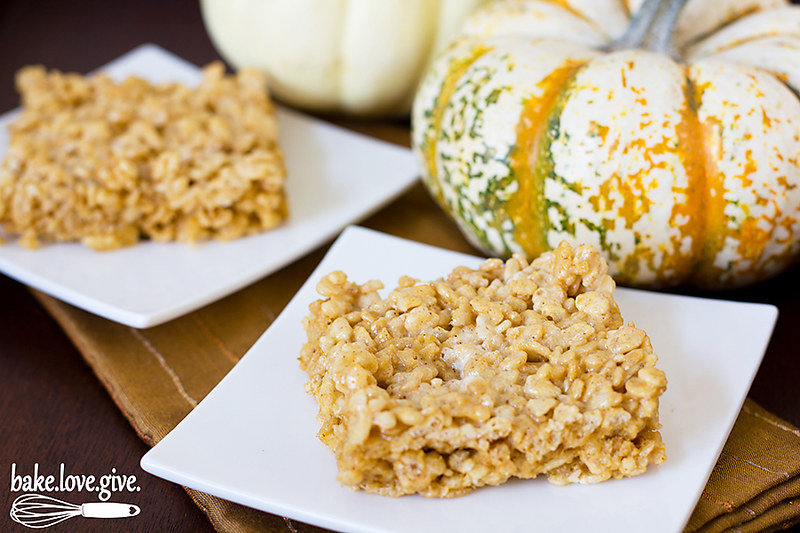 Brown Butter Pumpkin Spice Rice Krispies Treats