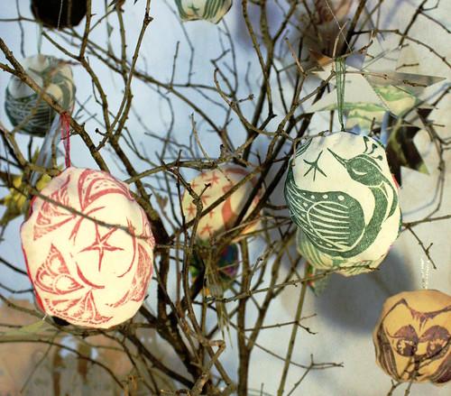 Boule de Noël, motif oiseau