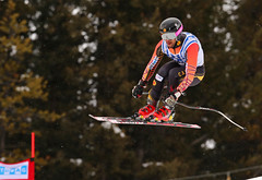 Conrad Pridy in action at the FIS Alpine World Cup in Lake Louise, CAN