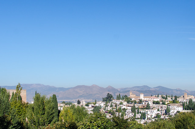 A view of Spain's Sierra Nevada mountains surrounding the city Granada.
