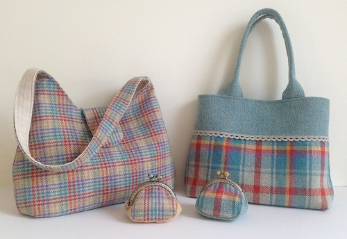 Irish tweed 100% wool handbags and matching coin purses