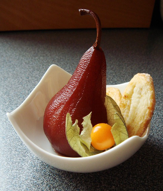 Mulled Wine Poached Pear with Palmier