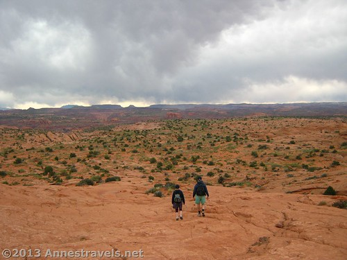 Hiking into a backpacking area: the Egypt section of Grand Staircase-Escalante. We're headed for Neon Canyon via the Beeline Route.