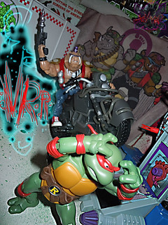 "TEENAGE MUTANT NINJA TURTLES - CLASSIC COLLECTION :: ROCKSTEADY & BEBOP { tOkKustom Punk touch-ups } xxvix //   ..'Bop with '07 NIGHTWATCHER ""STUNT RIDER"" Motorcycle  (( 2013 ))"
