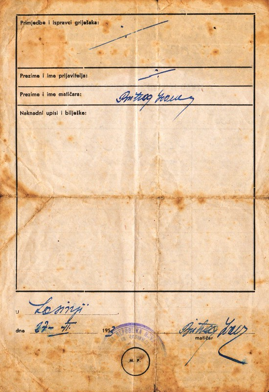 Birth certificate for Misko Radojcevic (back page)