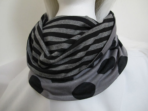 Grey & black spotty & stripy cowl