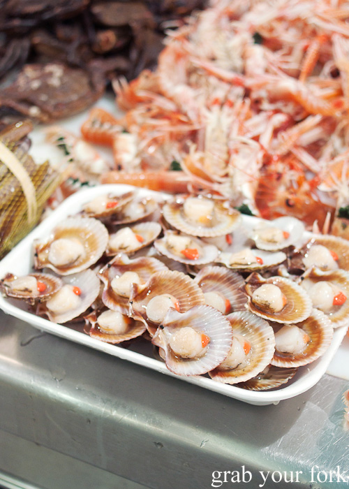Zamburinas or variegated scallops at Plaza de Lugo Fish Market in A Coruna, Galicia, Spain