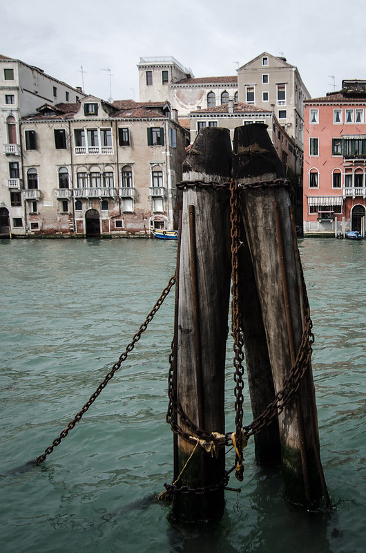 Moorings along the Grand Canal in Venice.