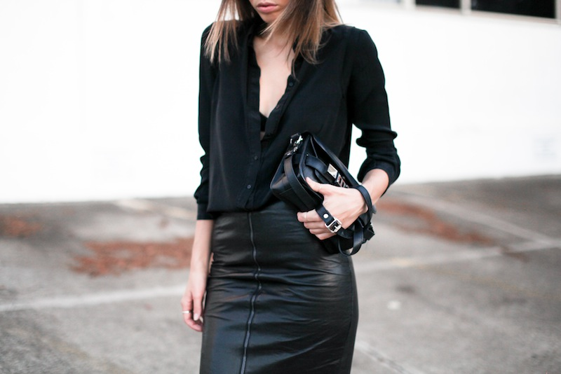 modern legacy fashion personal style blog australia leather pencil skirt KAHLO Proenza Schouler PS11 mini vs classic silk shirt slide sandals street style all black everything (8 of 13)