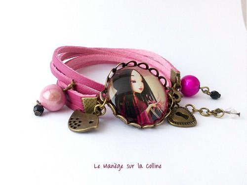 bracelet simili cuir rose soleil Levant bronze et perles magiques