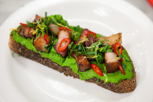 Chef Dan Kluger's pea toast with house cured bacon dish & chilies