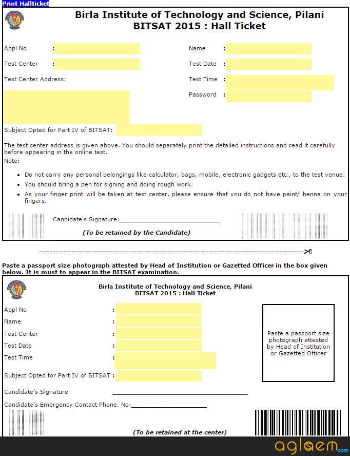 Admit Card of BITSAT
