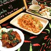 #Dinner last night was #takeout from #BryantPark: #OrganicWings (#spicy !) +#TomYumNoodles from the #KhaoManGai stall at the #bpfilmfestival. I didn't stay for the movie but had fun #checkingout the stores.  #Monday event to check out. #thingstodoinnewyor