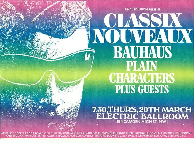 Classix Nouveux, Bauhaus, Plain Characters, at the Electric Ballroom, London, U.K. 1980