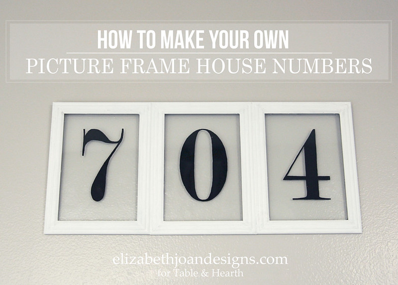 What a cute housewarming gift idea!! This cute house numbers art is made of just a few cheap picture frames, glue, and paint!