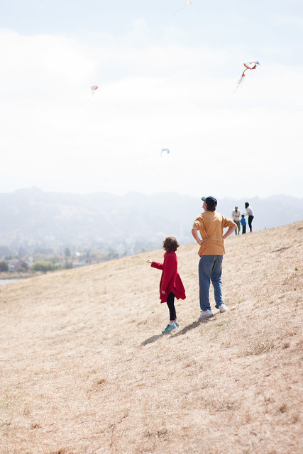 Father and daughter watching kites