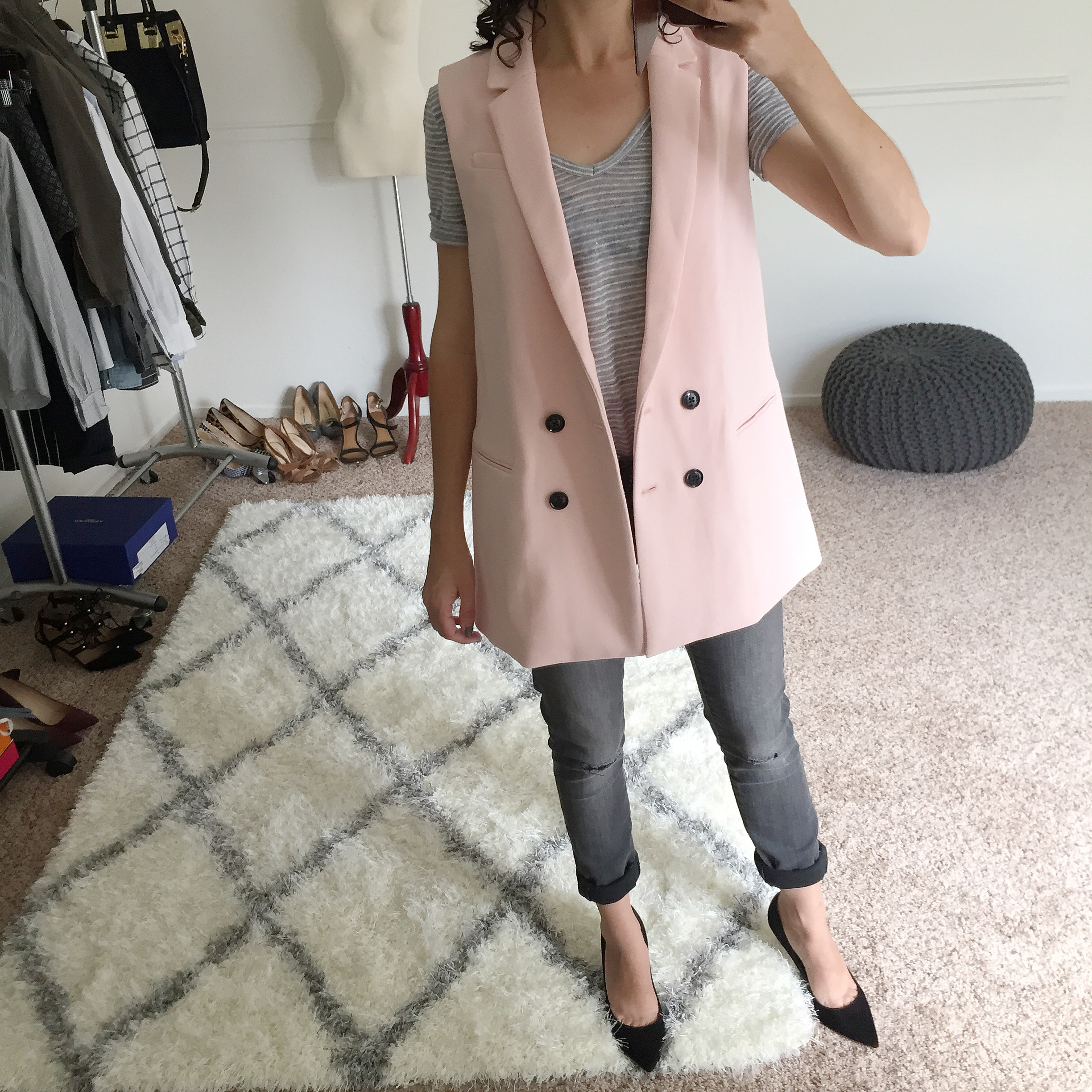 Banana Republic Petites Double-Breasted Long Vest Fit Review - Pink