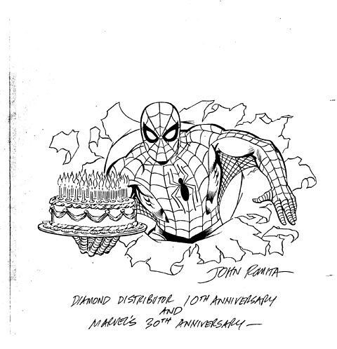 John Romita Sr. Spidey Promo Merchandising Art with BirthdayCake Cover