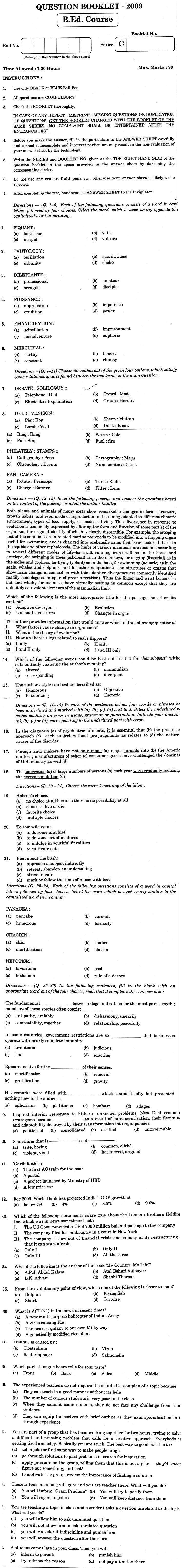 J&K B.Ed. 2009 Question Paper