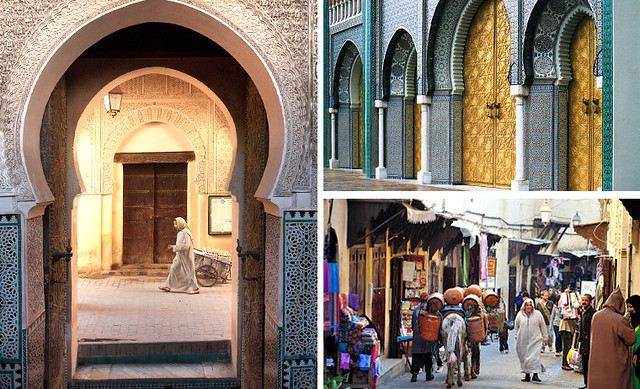 Rinconcitos de Fez y su medina, la zona peatonal más grande del mundo, puertas doradas