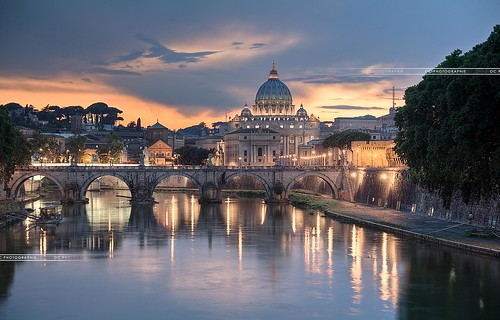 city bridge sky italy vatican rome roma reflection saint st angel night canon pose gold europa europe long exposure italia photographie ange reflet ciel pont chateau oc nuages nuit castello hdr italie longue