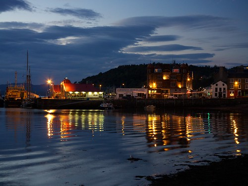 uk sea night lights scotland highland oban scozia