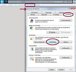 Opciones de internet IE