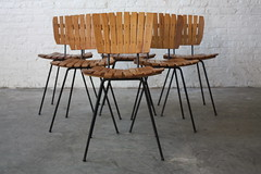 Strutting Arthur Umanoff Mid Century Modern Slatted Wood and Wrought Iron Dining Chairs (U.S.A., 1950s)