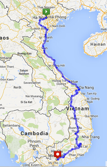 Vietnam Cycling Route Hanoi to Ho Chi Minh City