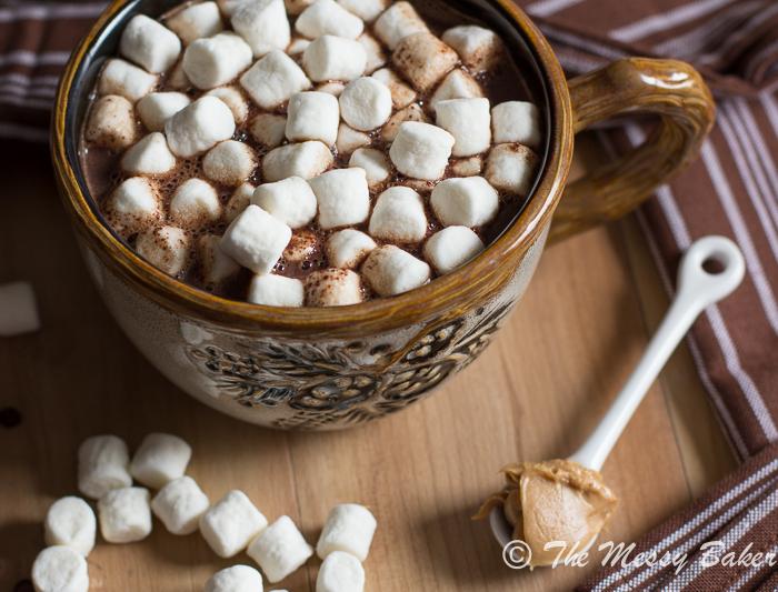 Milk Chocolate Peanut Butter Hot Chocolate | www.themessybakerblog.com -8627