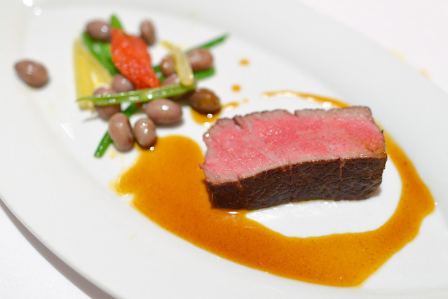 Filet of Beef, Tarbais Beans, Oven Dried Tomatoes, Sauce Bordelaise