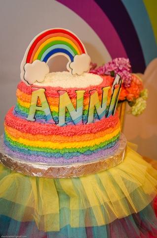 rainbow themed party cake