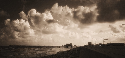 Galveston Seawall, infrared false color