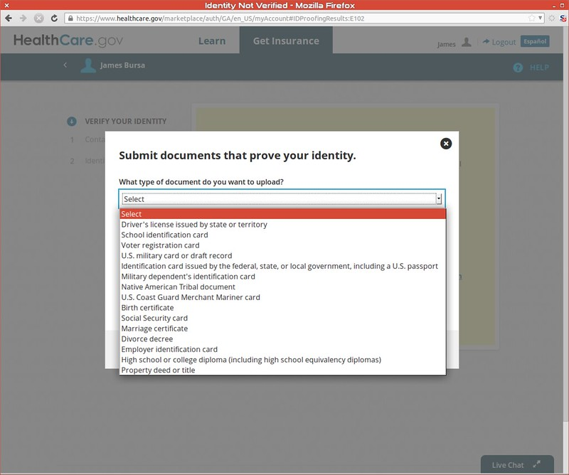Uploading identity documents