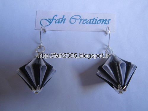 Handmade Jewelry - Origami Paper Diamond (Unit) Earrings (1) by fah2305