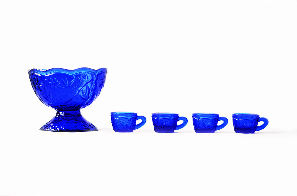 Vintage Miniature Cobalt Blue Punch Bowl and Four Glasses