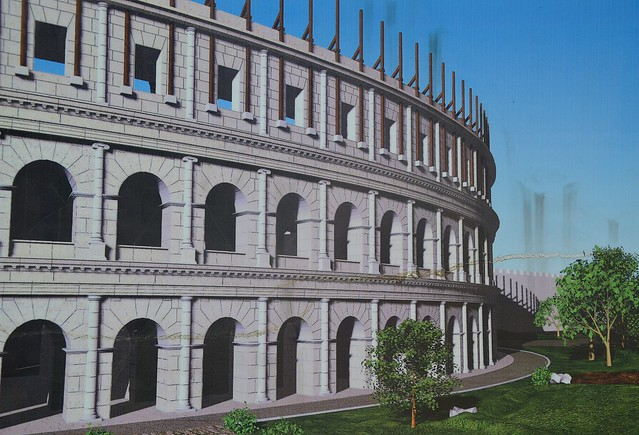 Computer reconstruction of the Roman amphitheatre, erected in the latter half of the 2nd century AD, Salona