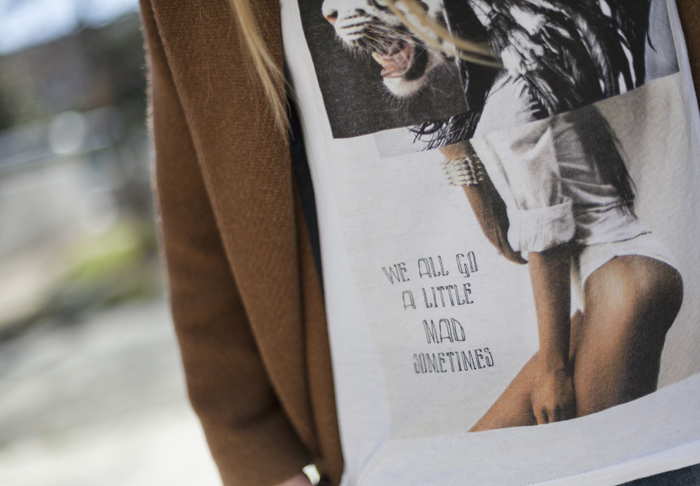 street style barbara crespo a little mad sometimes eleven paris tshirt coat fashion blogger outfit