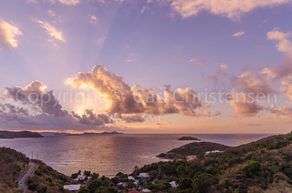Sunrise behind the clouds on St. John - US Virgin Islands