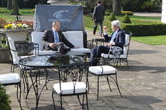 U.S. Secretary of State John Kerry and Russian Foreign Minister Sergey Lavrov hold a brief one-on-one conversation on the patio at Winfield House, the U.S. Ambassador's Residence in London, United Kingdom, before the start of a formal bilateral discussion focused on Russian intervention in Crimea on March 14, 2014. [State Department photo/ Public Domain]
