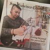 @thedappertoad and I were in the paper today with our knitting machines, squid tree, and yarn wall!