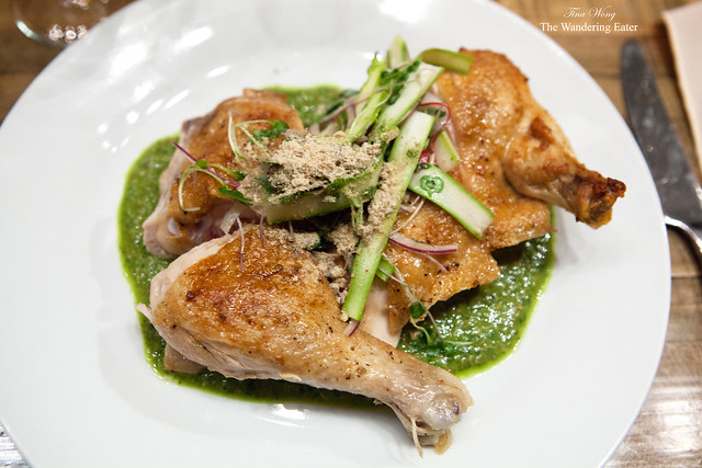 Pollo con pepian, roasted chicken, pumpkin seed mole, shaved asparagus by Aarón Sánchez